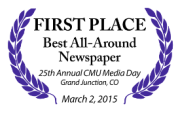 First Place winner for Best All-Around Newspaper in CMU's 25th Annual Media Day, March 2, 2015!